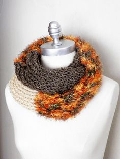 Colorblocking Infinity Scarf, Pumpkin Orange, Taupe Tweed, and Cream, Fashion Knitwear, Fall Scarf,.  via Etsy.