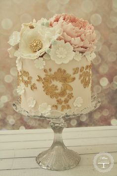 Gold Metallic Applique Floral Cake