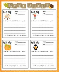 Freebie:  Fall exit slips