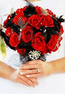 Red and black Bridal bouquet