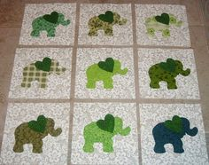 9 Baby Green Elephant with Heart Quilt  Blocks by MarsyesQuiltShop, $13.95