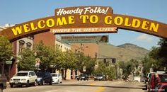 The friendly Howdy Folks sign that greets people to downtown Golden - all 4 blocks of it.