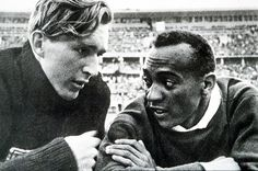 """Berlin Olympics, 1936 : The German silver medalist was the first to congratulate Jesse Owens and they took a lap of honour around the stadium together as the crowd rose to salute them both. """"It took a lot of courage for him to befriend me in front of Hitler,"""" said Owens later. """"You can melt down all the medals and cups I have and they wouldn't be a plating on the 24-carat friendship I felt for Lutz Long at that moment."""""""