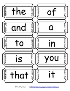 FREE Have your students practice the first 100 Fry Words by using tickets! Oh, soooo many clever ways to use these ... collect for rewards, pull from a fishbowl and read as a ticket to leave the room, etc.  From Mrs. McKown