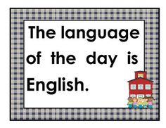 Language of the Day Signs for the Dual Language Classroom