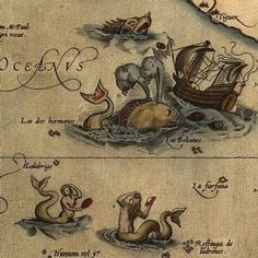 """The monster twin-spouted whale.  1570  Scientist/artist: Abraham Ortelius  Originally published in: Theatrum Orbis Terrarum  Now appears in: """"Early Modern Brave New World?"""" by Ciobanu Estella Antoaneta in The Annals of Ovidius University Constanta  Ortelius didn't confine exotic sea creatures in his maps to the relatively familiar waters of Northern Europe. In the Pacific Ocean, he envisioned big, gluttonous whales attacking passing ships, and preening sirens waiting to seduce the sailors."""