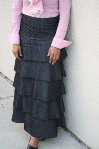 JM Long Layered Denim Skirt-$55.00 @ Jade Mackenzie  La_La_Layers!