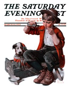 """""""Sick Puppy"""" Saturday Evening Post Cover, March 10,1923 by Norman Rockwell. Giclee print from Art.com."""