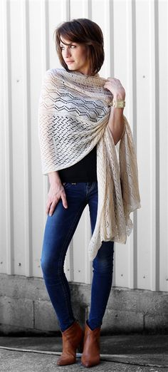 Cream heartwarming shawl