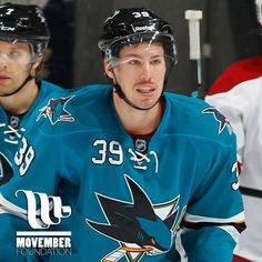 San Jose Sharks' Logan Couture is sporting his #Movember stache on ice.