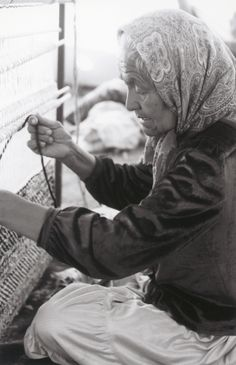 "Mary Lou    ""A woman of many talents, Mary Lou Blackrock follows the Navajo tradition: weaving her rug everyday."""