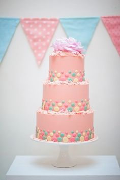 #Cute #Pink and different sized & color #Polka #Dots #Cake with #Flower topper! We love and had to share! Great #CakeDecorating