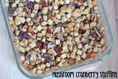 Holiday Side Dish - Mushroom Cranberry Stuffing | 5DollarDinners.com #holidaysidedish
