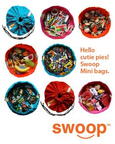 The Swoop Mini has arrived!  www.swoopbags.com #swoop bags #toy storage #lego bag