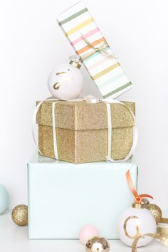 DIY monogram ornaments gift tags