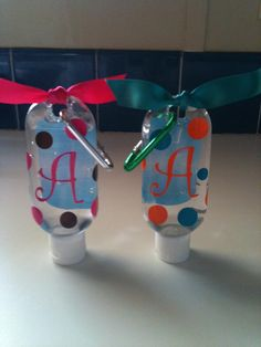 Personalized green apple or pink sugar scented hand sanitizer $3.00 #TendCampCarePackage