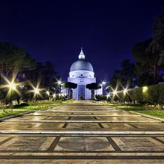 Rome, EUR, at night.