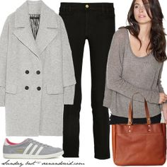 Black jeans, grey sweater, sneakers, casual outfit