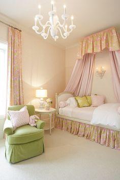 little girl's room, pink, green, bedroom