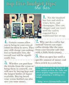 Five Budget Tips for the Wedding Bar