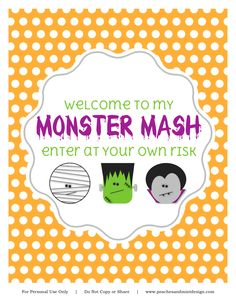 Such a cute free Halloween printable party sign #halloween #party #printable #sign