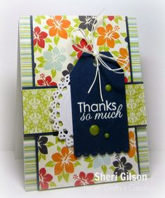 Paper Crafty's Creations, Down By The Shore, Fancy Pants, Salutations, Tag Scallop, Paper Smooches, Hemptique, VersaMark, IHP, i {heart} papers, Thank You