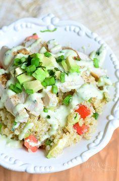Avocado Ranch Chicken Quinoa Bowl | from willcookforsmiles.com