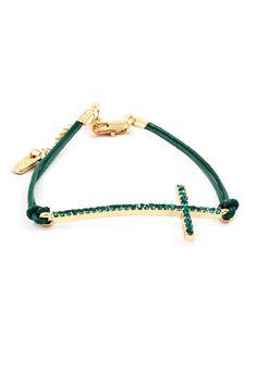 Crystal Emerald Cross Bracelet