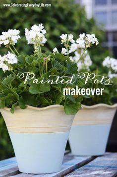 Painted Terracotta Flower Pot Makeover