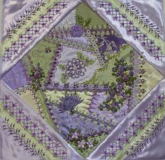 """I ❤ crazy quilting, beading & embroidery . . . Pillow 4 """"beautiful"""" details ~By Susie W"""