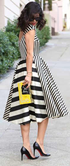Stripes swing dress