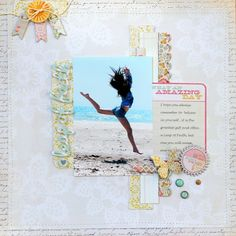 Scrapbooking layout using My Mind's Eye The Sweetest Thing Lavender Collection