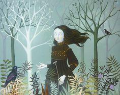 Original Painting Fine Art Autumn Dream Portrait Girl Woman Bird Modern Fall