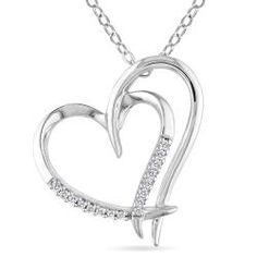 Sterling Silver White Diamonds Heart Pendant Necklace