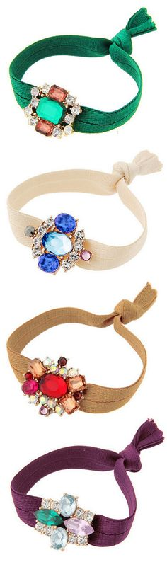 Cute Gem Adorned Hair Ties that actually look cute around your wrist!