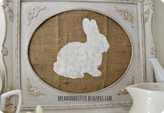 pottery barn knock off framed burlap bunny silhouette