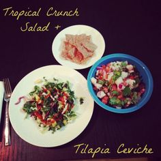Beat the heat with this crunchy tropical salad and tilapia ceviche!