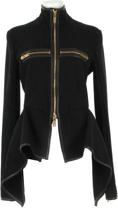 GARETH PUGH Virgin Wool and Lambskin Asymmetrical Jacket