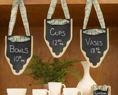 Craft Fair Burlap and Chalkboard Signs.  Cool display for your craft booth