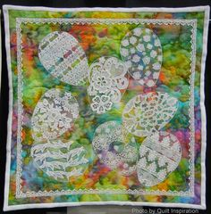 "Spring, 18 x 18"",  by Jill Sheehan, Woodbridge, Virginia.  Photo by Quilt Inspiration quilt inspiration, art quilt, quilt ii, easter quilt"