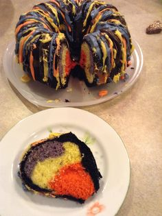 Colored Bundt #Cake #Halloween Recipe