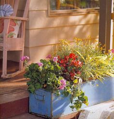 This recycled file cabinet makes the perfect flower pot for a window sill in an indoor garden. It also embraces the idea of sustainability by not simply discarding an old, rusted file cabinet, but instead giving it a vibrant new use.