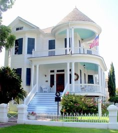 great white porches with sky blue ceilings for depth