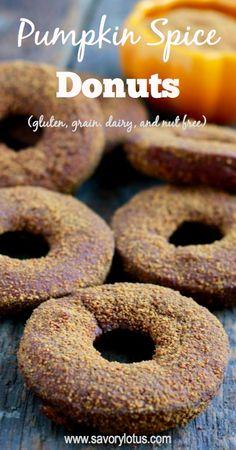 Pumpkin Spice Donuts (gluten, grain, nut, and dairy free) - savorylotus.com