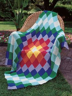 Knitting - Afghan & Throw Patterns - All the Colors of the World