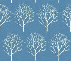 tree_blue_linen fabric by holli_zollinger on Spoonflower - custom fabric