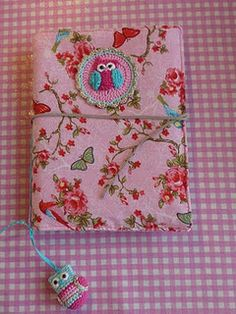 Notebook cover with crochet owl applique