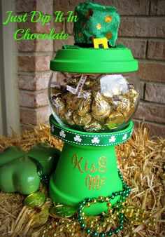 Such a cute idea for St. Patrick's Day! :) Just Dip It In Chocolate: Kiss Me DIY Gumball Machine