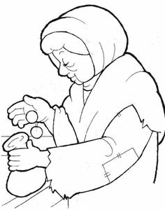 widow's mite coloring page | The Widow's Offering