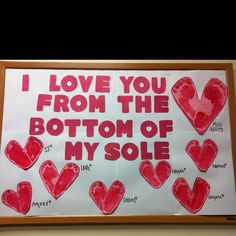 "As teachers, we use hand prints a lot, but I love this idea of using two foot prints to create a heart shape.  The title ""I Love You From the Bottom of My Sole"" is a fun and unique title for Valentine's Day too!"